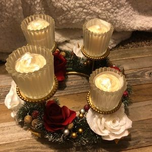 Avon Accents - Avon winter garland lighted centerpiece candles